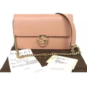 d02379a04f4 Gucci Bags - Gucci Chain Wallet Icon Gg Pink Leather Cross Body